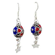 Indonesian bali style solid enamel 925 silver dangle ball earrings c23040