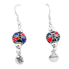 Indonesian bali style solid multi color enamel 925 silver ball earrings c23039