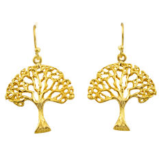 3.48gms indonesian bali style solid silver 14k gold tree of life earrings c26361