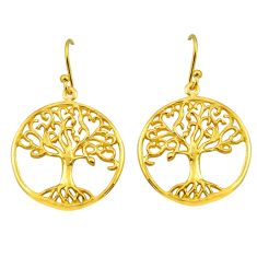 4.69gms indonesian bali style solid silver 14k gold tree of life earrings c26685