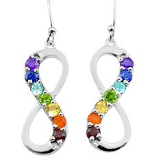 4.64cts infinity amethyst cornelian topaz garnet silver chakra earrings t50444