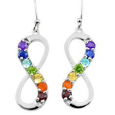 4.87cts infinity amethyst cornelian topaz garnet silver chakra earrings t50450