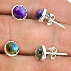 4.20cts labradorite copper turquoise 925 silver 2 pair studs earrings t50842
