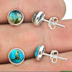 4.22cts labradorite copper turquoise 925 silver 2 pair studs earrings t50897