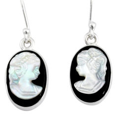 6.97cts lady face natural opal cameo on black onyx 925 silver earrings r80406