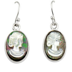 10.82cts lady face natural titanium cameo on shell 925 silver earrings r19845