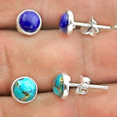 4.16cts lapis lazuli copper turquoise 925 silver 2 pair studs earrings t50881