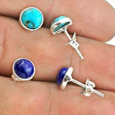 4.22cts lapis lazuli copper turquoise 925 silver 2 pair studs earrings t50896