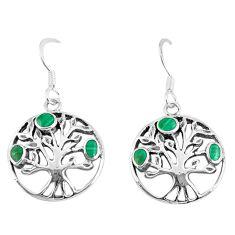 3.69gms green malachite (pilots stone) 925 silver tree of life earrings c11653