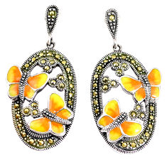 11.47gms marcasite enamel 925 sterling silver butterfly earrings jewelry c21448