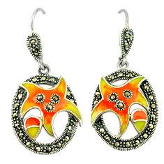 6.48gms marcasite enamel 925 sterling silver dangle earrings jewelry c18989