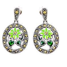 4.87gms marcasite enamel 925 sterling silver dangle earrings jewelry c21457