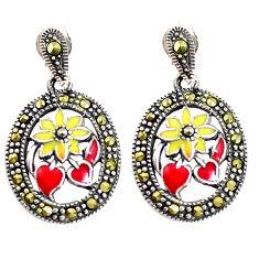 4.89gms marcasite enamel 925 sterling silver flower earrings jewelry c21456