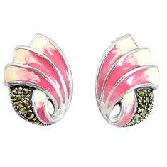 7.47gms marcasite multi color enamel 925 sterling silver earrings jewelry c21442