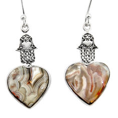 10.55cts mexican laguna lace agate 925 silver hand of god hamsa earrings r46799
