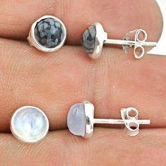 4.26cts moonstone australian obsidian 925 silver 2 pair studs earrings t50886