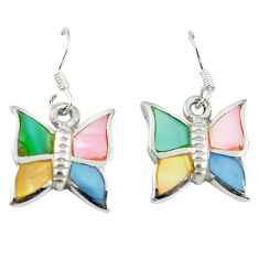 Multi color blister pearl enamel 925 silver butterfly earrings a67792 c13633
