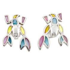 Multi color blister pearl enamel 925 silver dangle earrings a69646 c14286