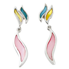 Multi color blister pearl enamel 925 silver dangle earrings a69647 c14378