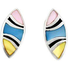 Multi color blister pearl enamel 925 silver dangle earrings a69655 c14374