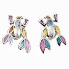 Multi color blister pearl enamel 925 silver dangle earrings a69656 c14295