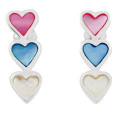 Multi color blister pearl enamel 925 silver dangle earrings a75861 c14287