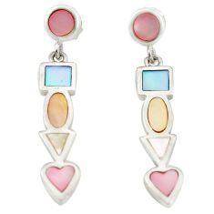 Multi color blister pearl enamel 925 silver dangle earrings a75890 c14284