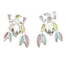 Multi color blister pearl enamel 925 silver dangle earrings a77468 c14282