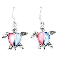 Multi color blister pearl enamel 925 silver tortoise earrings a55540 c14244