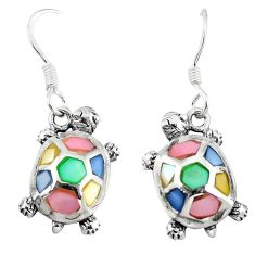 Multi color blister pearl enamel 925 silver tortoise earrings a58822 c14316