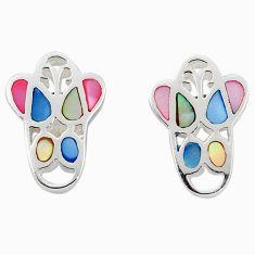 Multi color blister pearl enamel 925 sterling silver earrings a69669 c14379