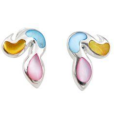 Multi color blister pearl enamel 925 sterling silver earrings a69670 c14367