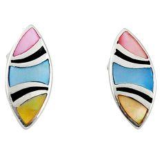 Multi color blister pearl enamel 925 sterling silver earrings a69671 c14376