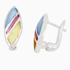 Multi color blister pearl enamel 925 sterling silver earrings a75903 c14228