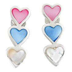 Multi color blister pearl enamel 925 sterling silver earrings a77491 c14300