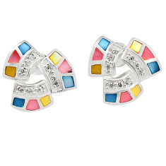 Multi color blister pearl enamel 925 sterling silver earrings jewelry c22725