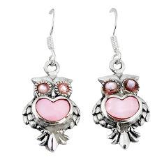 Multi color blister pearl enamel 925 sterling silver owl earrings a55570 c14352