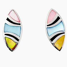 Multi color blister pearl enamel 925 sterling silver stud earrings a75864 c14365