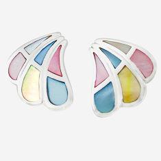 Multi color blister pearl enamel 925 sterling silver stud earrings a75885 c14271