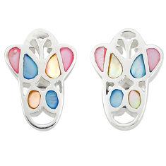 Multi color blister pearl enamel 925 sterling silver stud earrings a75889 c14372