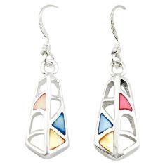 Multi color blister pearl enamel 925 sterling silver dangle earrings a75899 c14259