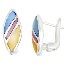 Multi color blister pearl enamel 925 sterling silver stud earrings a77462 c14221
