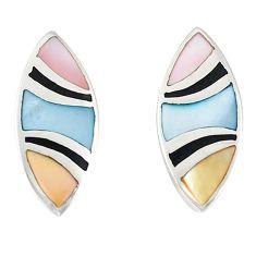 Multi color blister pearl enamel 925 sterling silver stud earrings a77494 c14366