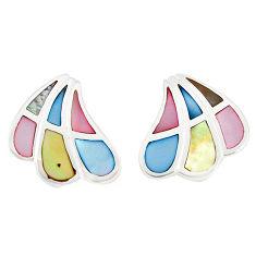 Multi color blister pearl enamel 925 sterling silver stud earrings a77499 c14266