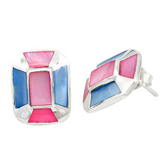 Multi color blister pearl enamel 925 sterling silver stud earrings c22727
