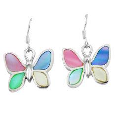 6.48gms multi color blister pearl enamel silver butterfly earrings a88459 c14231
