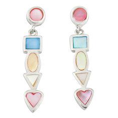 Multi color blister pearl enamel sterling silver dangle earrings a77490 c14285