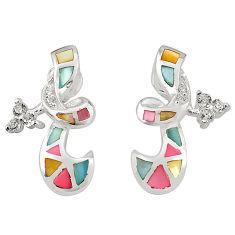 Multi color blister pearl topaz enamel 925 silver earrings a75908 c14299