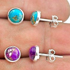 4.47cts multi color copper turquoise 925 silver 2 pair studs earrings t50819