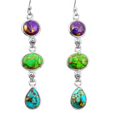 15.28cts multi color copper turquoise 925 sterling silver dangle earrings r26802